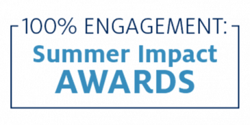 100% engagement summer impact awards graphic element