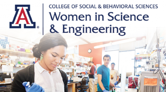 women in science and engineering logo with students in the lab
